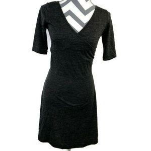Prana Half Sleeve Faux Wrap Nadia Wool Blend Dress